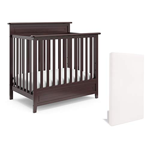 Storkcraft Petal 5-in-1 Convertible Mini Crib with Mattress, Espresso