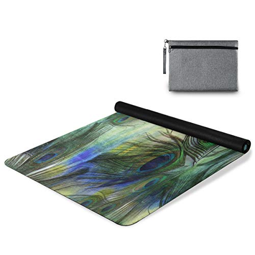 ALAZA Watercolor Peacock Feathers Non Slip Yoga Mat, Exercise & Fitness Mat for Yoga, and Pilates, Workouts