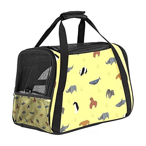 Bolsa portátil de viaje para mascotas, bolsas de viaje aprobadas por aerolíneas para gato y conejo, con impresión animal de origami de cara suave