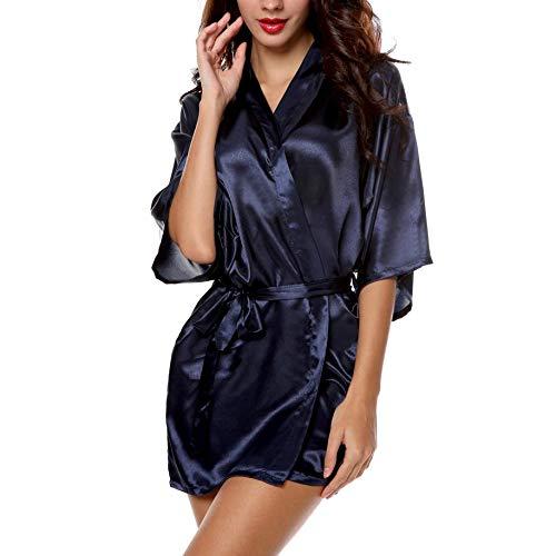 Kimono Stijl Dames Satijn Midden Mouw Nachtkleding Slaapmode Effen Jurk met Riem Zijde Nachtjapon