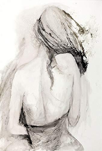 Zwart-witte figuren die abstracte posters en prints van olieverfschilderijen tekenen, vintage kunstfoto's van Scandinavische woonkamerwanden