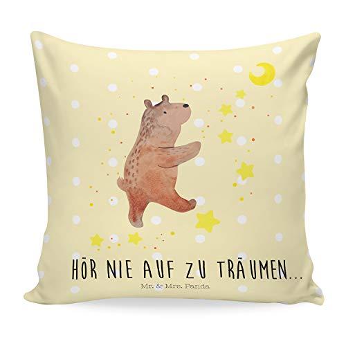 Mr. & Mrs. Panda Sofakissen, Kissenbezug, 40x40 Kissen Bär Träume mit Spruch - Farbe Gelb Pastell