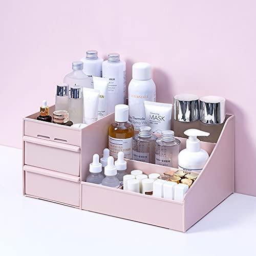 N\C Caja de almacenamiento cosmética de gran capacidad, organizador de cajón de maquillaje, joyería de esmalte de uñas, contenedor de maquillaje de escritorio