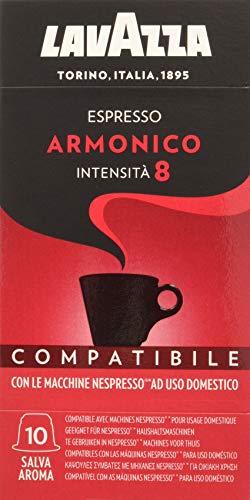 Lavazza Cápsulas de Café Compatibles Nespresso Espresso Armonico, Paquetes de 10 x 10 Cápsulas (Total: 100 Cápsulas)