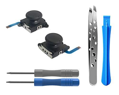 ElecGear [Nuova Edizione] 2PCs Joystick Analogico per Nintendo Joy-con Controller e Switch Lite, 3D Thumb Stick di Sostituzione Verga Berretto con Kit di Strumenti di Riparazione Cacciavite (2X Nero)