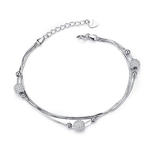 J.Vénus 925 Argent Fin Bracelet pour Femme Bijoux avec Oxyde de Zirconium Rond Chaîne Réglable Mariage Cadeaux Les Femmes Maman épouse Cadeau - Le Seul Amour(19.5cm)