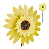 Relaxdays Windrad Blume, Deko Sonnenblume, für Kinder, für Balkon, Terrasse und Garten, Gartenstecker, 70 cm hoch, gelb