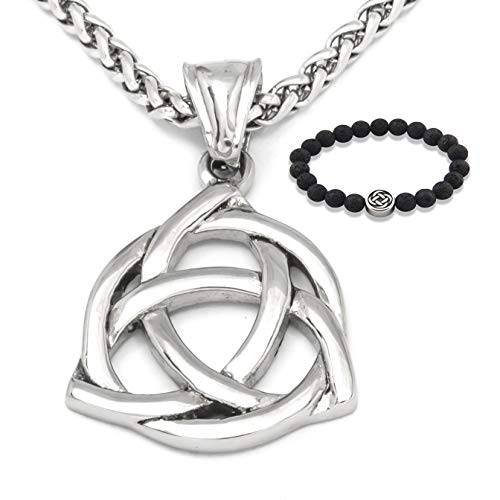 GUNGNEER Stainless Steel Silvertone Celtic Infinity Knot Triquetra Pendant Necklace Love Protection Jewelry Men Women