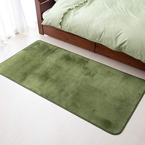 タンスのゲンラグカーペット洗える約1畳90×180cm滑り止めオールシーズン床暖房ホットカーペット対応ラグマット北欧グリーンAM00010003(72655)