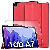 EasyAcc Funda y Protector de Pantalla Compatible con Samsung Galaxy Tab A7 10.4 2020, Case Ultra Slim Carcasa Smart Cover PU Alta Definicion Cristal Vidrio Premium para SM-T500/SM-T505, Rojo
