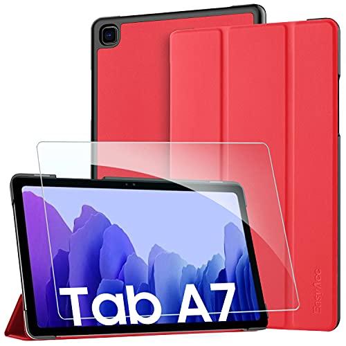 EasyAcc Hülle Kompatibel mit Samsung Galaxy Tab A7 10.4 2020 mit Panzerglas -Ultra Dünn mit Standfunktion Slim PU Leder Smart Schutzhülle Kompatibel Galaxy Tab A7 10.4 2020 SM-T500/SM-T505 Rot