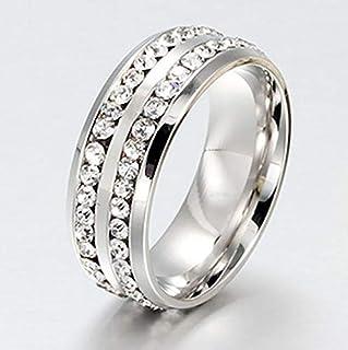 خاتم (دبلة) مرصع بخطين أحجار كريستال مطلي فضة مقاس أمريكي 7