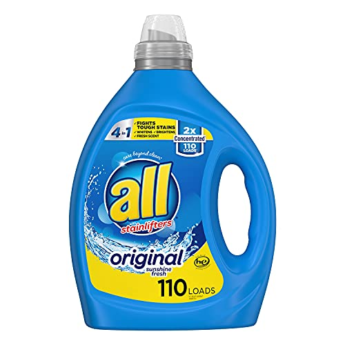 all Laundry Detergent Liquid, Fights Tough Stains, High Efficiency Compatible, 2X Concentrated, 110 Loads