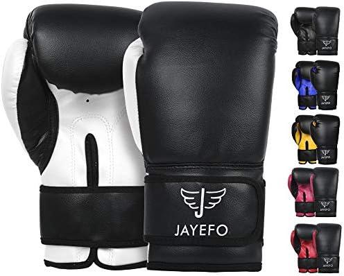 JAYEFO Beginners Leather Boxing MMA Muay Thai Gloves Kick Boxing Gloves Sparring Gloves MMA product image