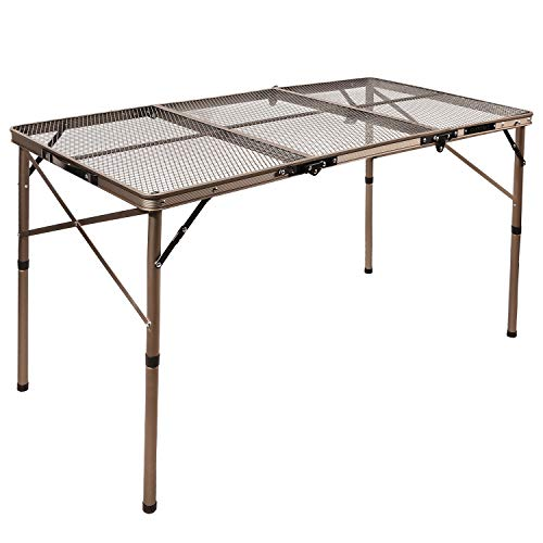 REDCAMP Aluminum Folding Grill Table for Camping, Adjustable Height Lightweight Portable Outdoor Grill Stand Table for Outside Picnic BBQ Beach, Champagne 48x24