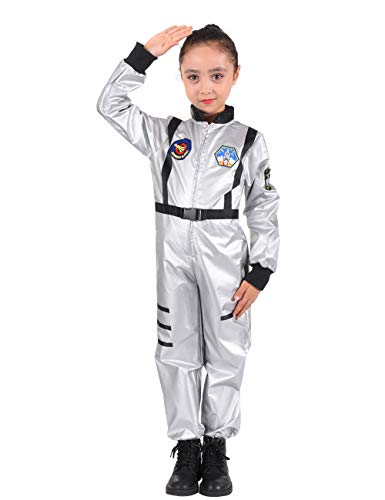familus Astronaut Role Play Costume for Kids Silver NASA Astronaut Costume for Boys Girls Age 7-8