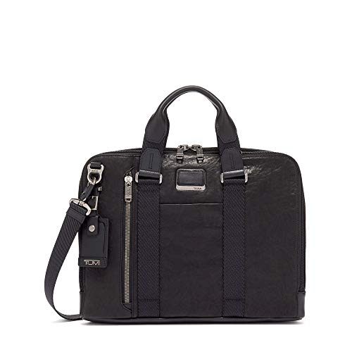TUMI - Alpha Bravo Aviano Leather Laptop Slim Brief Briefcase - 15 Inch Computer Bag for Men and Women - Black
