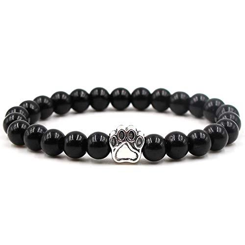 Godagoda - Braccialetto vintage con perline in pietra, con ciondolo a forma di zampa di cane e Lega, colore: Bright Black Frosted Stone