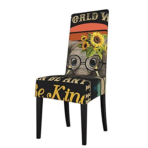 Fundas para sillas vintage retro Be Kind Elefante Sunflowe Silhouettes Elástico Super Dining Chair Slipcover Protector Funda de asiento para silla de comedor Fundas extraíbles