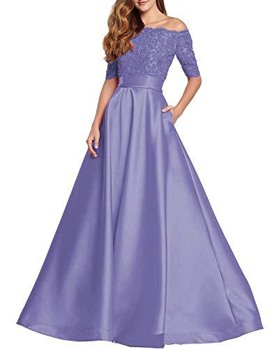 JAEDEN Ballkleider Abendkleider Damen Hochzeitskleider Brautkleid Lang Schulterfrei Kurzarm Spitze Satin Lila EUR58