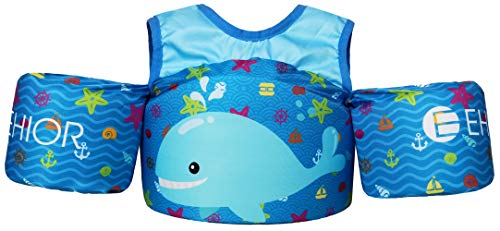 Ehior Toddler Swim Vest Water Aid Floats with Shoulder Harness Kids Pool Swim Life Jacket for 25 - 55 lbs Boys and Girls (Cute Whale Baby)