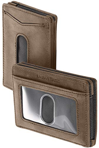 Compact RFID Sleeve Wallet Premium Leather Minimalist Money Clip Card Holder