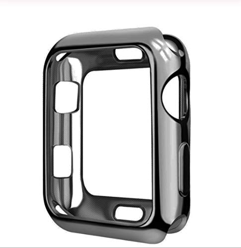 2 Piezas Funda de Reloj para Apple Watch 6 5 4 40MM 44MM Revestimiento Protector TPU Delgado Suave para Iwatch Series 3 2 1 38MM 42MM Accesorios-Pizarra cepillada, para 40MM