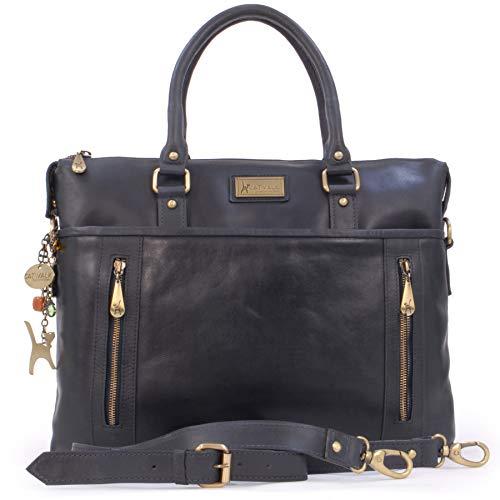 Catwalk Collection Handbags - Vintage Leder - Schultasche/Organizer/Arbeitstasche/Aktentasche für Damen - Laptop/iPad - Handtasche mit Schultergurt -ADELE - Blau