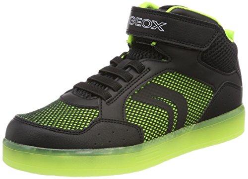 Geox Jungen J KOMMODOR Boy C Hohe Sneaker, Schwarz (Black/Lime), 37 EU