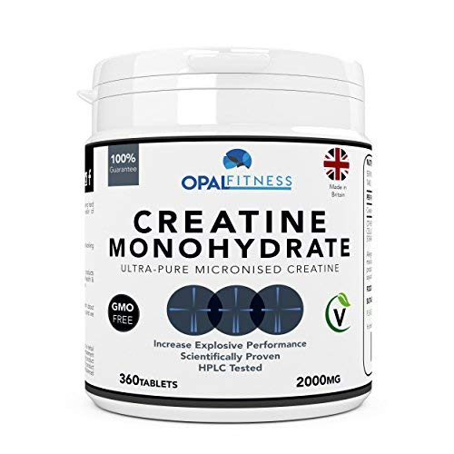 Creatine Monohydrate Tablets by Opal Fitness – Micronised, Easy to Swallow Tablets - Scientifically Proven to Increase Muscle Strength, High Intensity Explosive Energy, and Build Lean Muscle Mass
