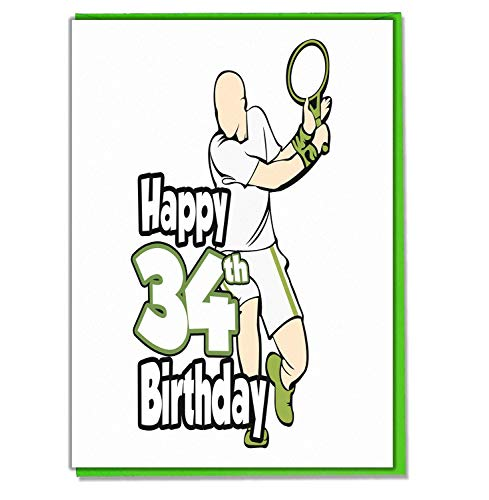 Tennis - 34e verjaardagskaart - Mannen, Zoon, kleinzoon, papa, broer, man, vriendin, vriend