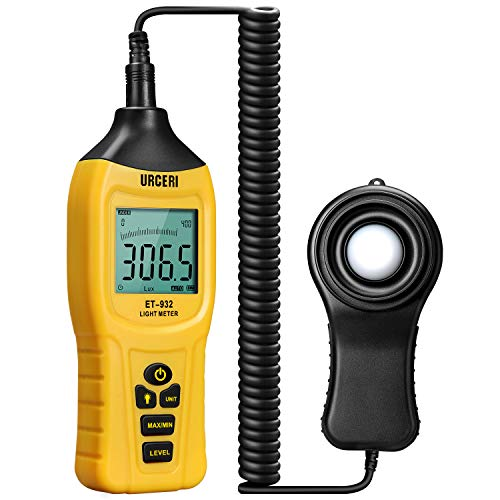 URCERI Light Meter LUX Independent Sensor Digital Illuminance Par Meter 400,000 Lux Large LCD Screen 9 V Battery Included