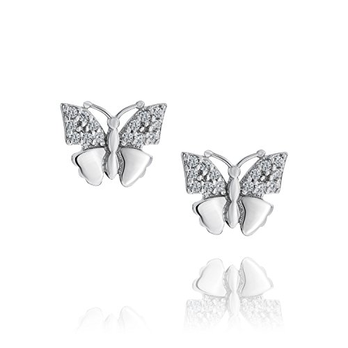 LillyMarie Pendientes de mujer de plata auténtica con cristales Swarovski Elements, mariposa, bolsa de satén, regalo para madre