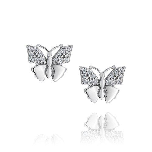 LillyMarie Pendientes de mujer de plata auténtica con cristales Swarovski Elements, mariposa, bolsa...