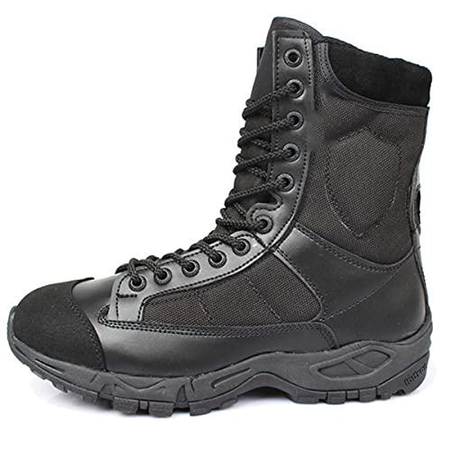 Botas tácticas de invierno de los hombres de cuero con cordones negro ejército combate tobillo botas desierto zapatos unisex militar botas