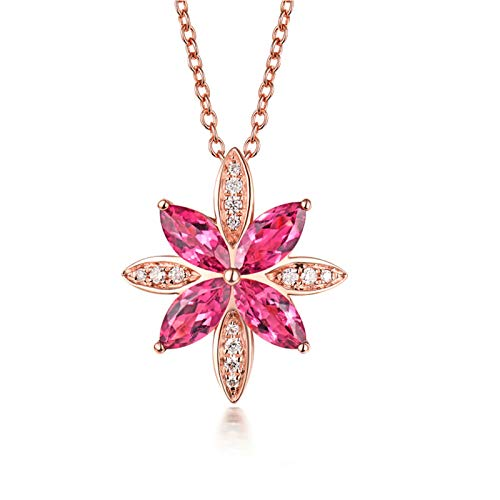 Aartoil 18K Rose Gold Pendant Necklace for Women s Star Shape with 1.9ct Tourmaline Pendant Valentine's Day Birthday Gift with Silver Chain