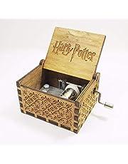 صندوق موسيقى خشبي كلاسيكي صغير بنقش هاري بوتر