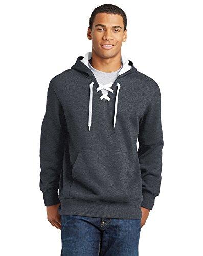SPORT-TEK Men's Lace Up Pullover Hooded Sweatshirt 4XL Graphite Heather