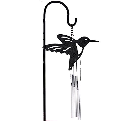 Yeyo Black Coated Hummingbird Metal Bell Tube Wind Chimes Stake Indoor/Outdoor Garden Flower Pot Bonsai Decor