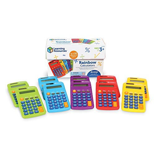 Learning Resources Rainbow Calculators, Basic Solar Powered Calculators, Teacher Set of 10 Calculators, Ages 3+
