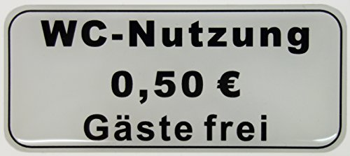 Bike Label Aufkleber 3D 900044 WC-Nutzung 50 Cent - Gäste frei Hinweisschild Türschild Toilettenschild
