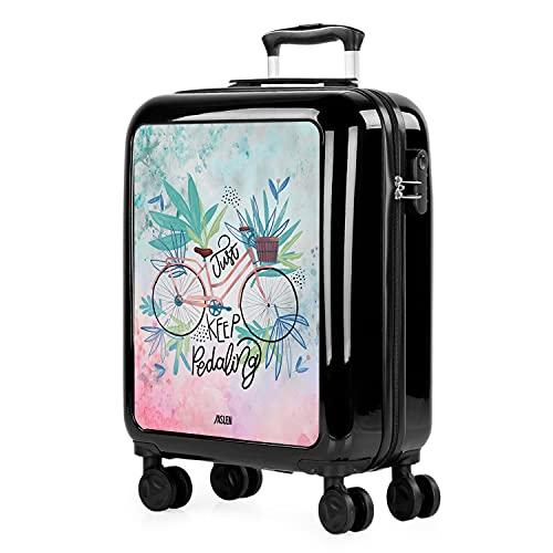 JASLEN - Trolley valigia cabina rigida con 4 ruote doppie 55x40x20cm Bagaglio a mano. Stampa giovanile. policarbonato. 132550 Nero-Bici