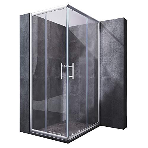 SONNI Duschkabine 75x90 cm Eckeinstieg Duschabtrennung Doppel Schiebetüren Echtglas Duschtür Sowohl auf Duschtassen als auch auf Fliesen installierbar