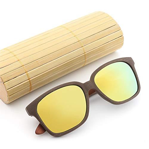 Sunglass Fashion Piernas de bambú Gafas de Sol Gafas Hombres Mujeres Película de Color de Madera clásica Gafas de Sol Retro (Color : 02Gray, Size : Free)