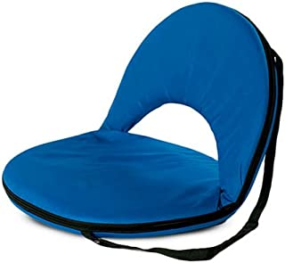 Bright Blue 5-Position Folding Chair with Adjustable Strap for Kids and Adults Comfortable Seat for Ground and Floor 20''L x 9.5''H