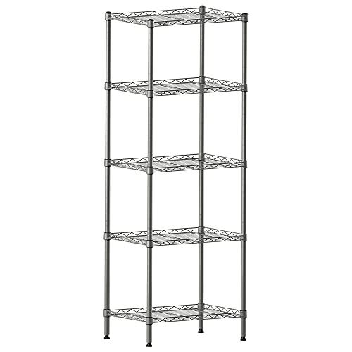 5 Wire Shelving Metal Rack Adjustable Unit Storage Shelves for Laundry Bathroom Kitchen Pantry Closet Silver