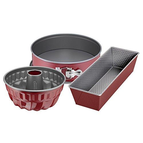 Kaiser Classic Plus - Juego de 3 moldes para hornear (base plana), molde para bizcochos, molde para tartas, antiadherente, color rojo