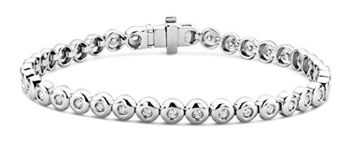 Miore Armband Damen 1.00 Ct Diamant Tennis Armband aus Weißgold 9 Karat / 375 Gold, Armschmuck mit Diamanten Brillianten 19.5 cm lang