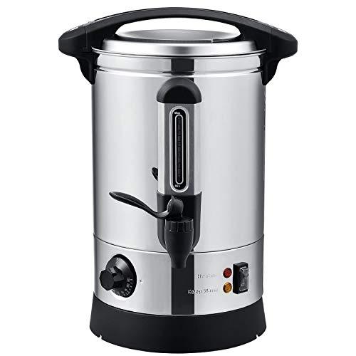 Juskys Glühweinkocher Teramo 7 Liter elektrisch Edelstahl mit Zapfhahn, Thermostat & Überhitzungsschutz, ideal als Heißgetränkespender Glühweintopf