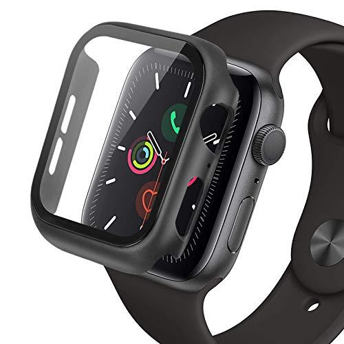 omitium 40mm Funda Cristal Templado Compatible con Apple Watch Serie 6/SE/5/4, 40mm PC Case y Vidrio Protector 9H Dureza Bumper y Protector Pantalla iwatch 40mm Carcasa, Negro